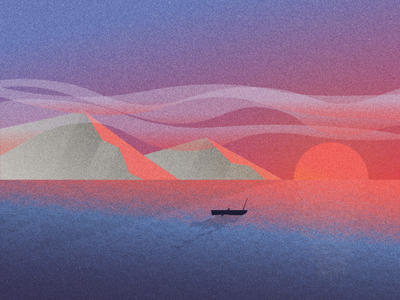Lake at Sunset minimal illustrator grain sun mountains sky sunset lake design illustration