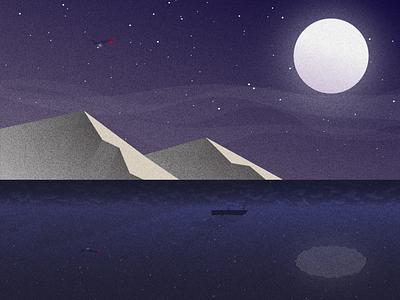 Lake at Night stars mountains sky moon minimal grain illustration illustrator night lake design