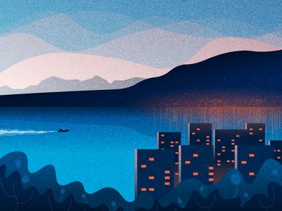 City by the Sea minimal water buildings sky night sea city grain illustration vector design