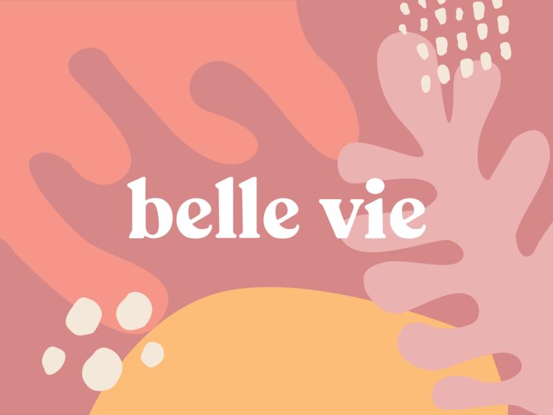 belle vie - logo experimentation geometric art shapes brand ux ui scandinavian design nordic pastels minimalist logo line art vector typography illustration flower branding font figma type design
