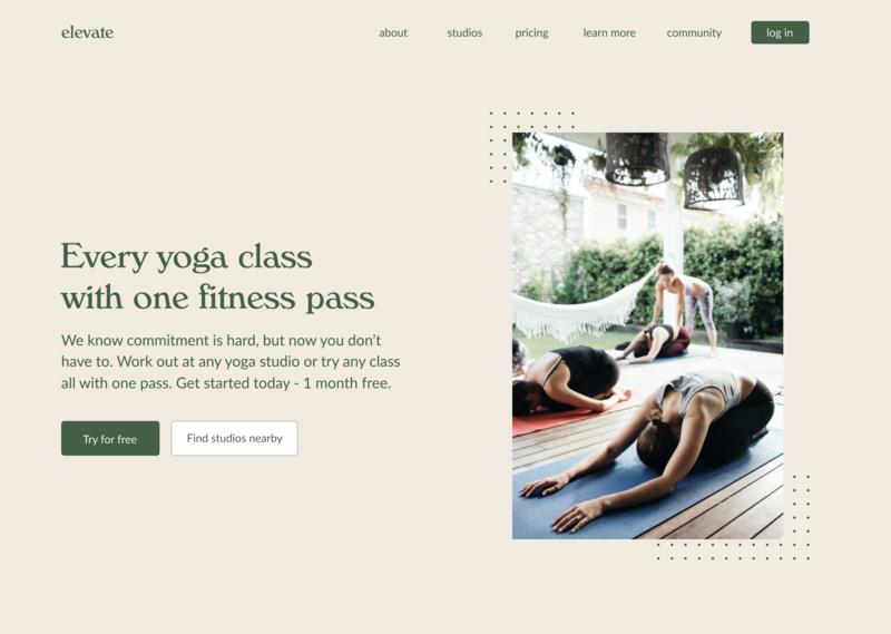 Elevate - Yoga Studio Pass Website Concept font typography branding minimalist type web ux design workout fitness yoga figma website concept website visual design ui ux  ui web  design ux design