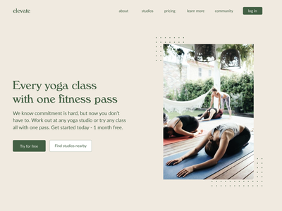 Elevate - Yoga Studio Pass Website Concept font typography branding minimalist type web ux design workout fitness yoga figma website concept website visual design ui ux  ui web  design ux design