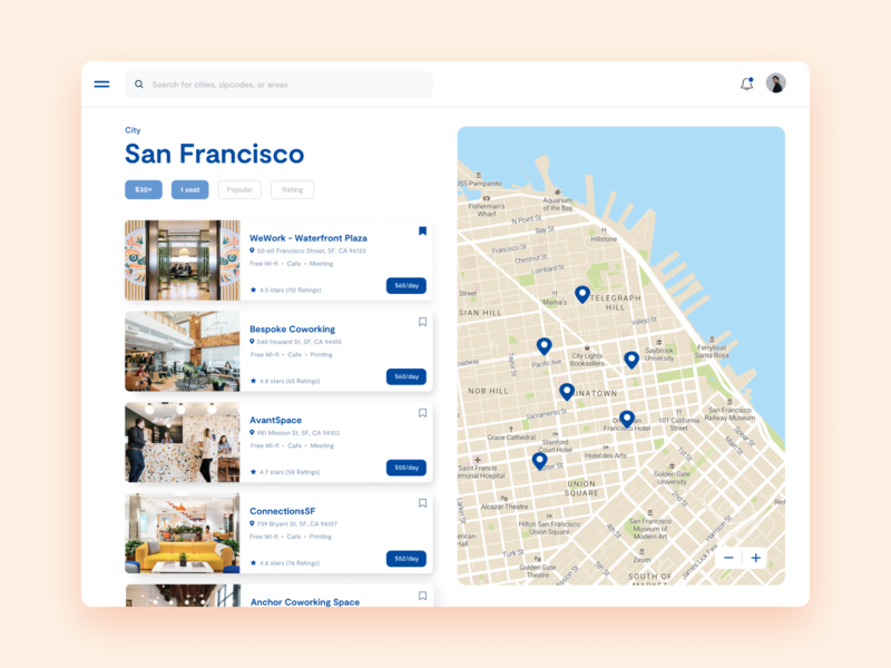 Concept for finding coworking spaces search design ux wework figma sanfrancisco coworking ux design uxui interface web website webdesign uxdesign uidesign ui ux ui