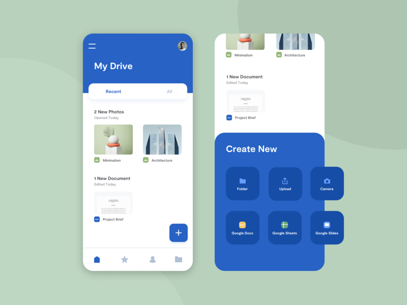 Google Drive Mobile Redesign userinterface mobileappdesign mobileapp mobile ui design app redesign googledrive content management system google mobile interface uidesign uxdesign uiux uiuix ui design