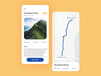 Hiking App Concept userinterface travel design figma minimalist interface ui route map switzerland mountains hiking mobile app uidesign uxdesign ux mobile ui mobiledesign mobile