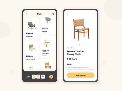 Furniture E-Commerce Concept mobile ui userinterface appdesign app mobiledesign shopping cart shopping furniture ecommcerce mobile uxui uxdesign uidesign interface figma ux ui design