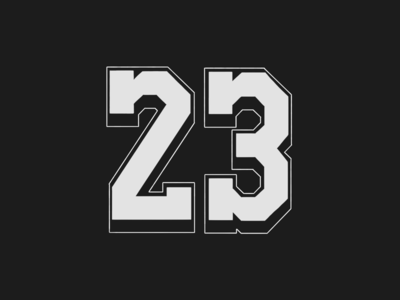 Drawing a number everyday - 23 number hand drawn basketball procreate typography