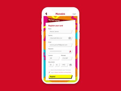 Nando's card sign up app screen - Daily UI :: 001