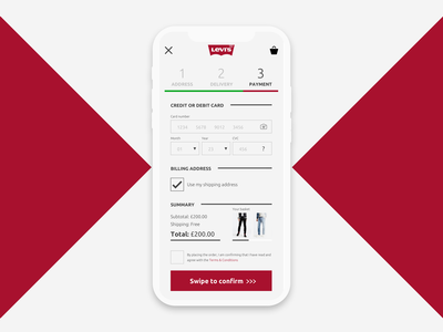 Levis Credit Card Checkout App Screen - Daily UI :: 002