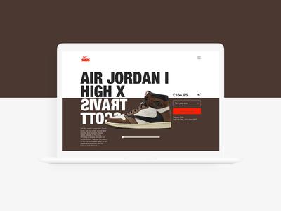 Air Jordan 1 x Travis Scott Landing Page - Daily UI :: 003