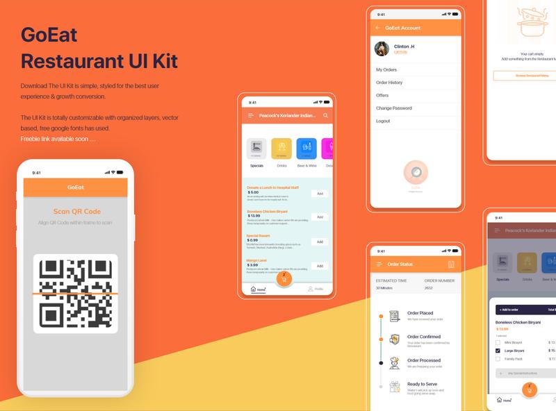 UI Kit for Restaurant App scan design freebie restaurant ui kit