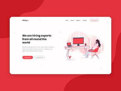 Recruitment Agency Header Shot web design header agency hire clean white illustration responsive ux ui