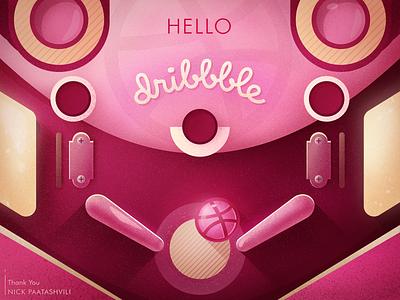 Hello Dribbble! fun pinball game logo design vector illustration first shot hello dribbble