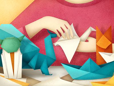 origami illustration texture colorful jedi dragon bird fox