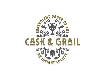 killed cask and grail logo futura hops flowers grail secret society illustration