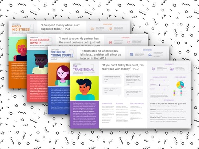 Illustrated Personas colorful graphs ux vector presentation research usability roles persona data visualization illustration