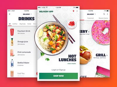 Delivery App Design Ideation selection landing menu app delivery food design ux button snacks ui motion