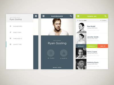 leave requests app hrcloud app saas leave requests flat tasks hr ryan gosling ui
