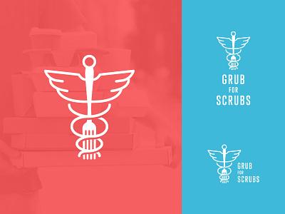 Grub for Scrubs Logo healthcare food delivery vector illustration typography design icon donations fundraiser branding logo