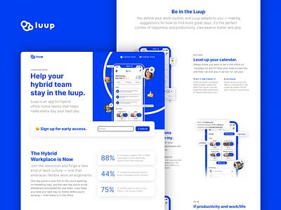 Luup App Landing Page homepage emojis luup workspace android ios hybrid remote work remote ux ui marketing website lander landingpage web figma startup app design app