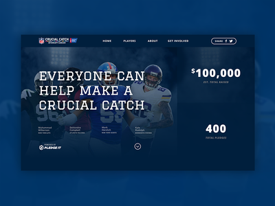 NFL Crucial Catch Campaign pledge website ux ui interface homepage catch football nfl