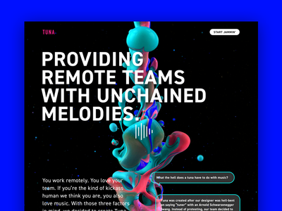 TUNA Website lab interface product app hackathon producthunt ui website remote spotify music tuna