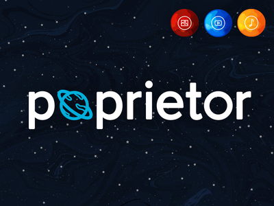 Poprietor Logo portfolio planet space logo identity brand branding catamaran startup poprietor