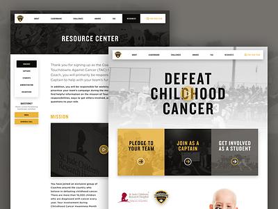 Touchdowns Against Cancer 2018 website homepage resource ux ui pledge pledgeit touchdown maxpreps highschool football house