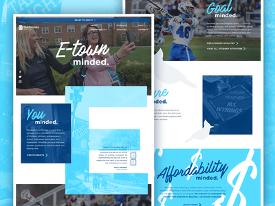 E-town College Campaign Microsite bluejay blue parallax microsite college education homepage interface andculture ux ui website