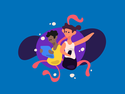 Way finding illustration vector character illustration