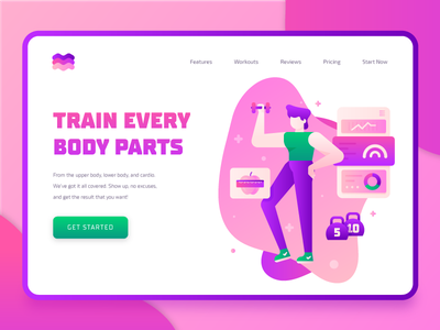 Fitness Sport Landing Page 2 muscle weight heart rate healthy illustration icon ux ui landing page weightlifting cardio fitness app diet exercise 2d character vector flat 2d sport fitness