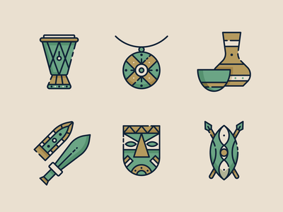 Africa Icons 1 illustration ui africa icon south africa african mask mask pottery shield necklace culture african culture traditional drum sword africa icon design icon set icons 2d flat