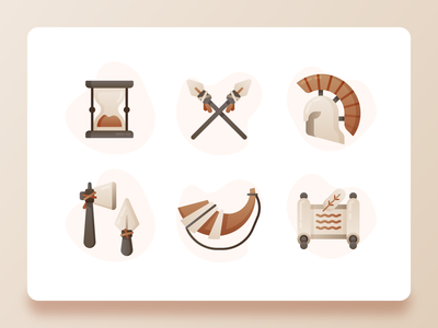 History Icons 2 old gradient time peace war primitive weapon spartan parchment trumpet traditional historical history hourglass web design ux ui flat 2d icon