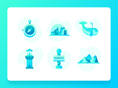 Antarctica Icons 2 vector blue freeze cold igloo eco global warming whale mountains compass ui icon icon set icon south pole north pole antarctica ui flat 2d illustration