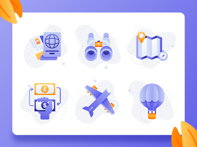 Travel Startup Icons 1 modern flat hot air baloon map money exchange flight plane passport ux ui 2d icon design icon set vacation holiday booking app travel app travel startup startup travel