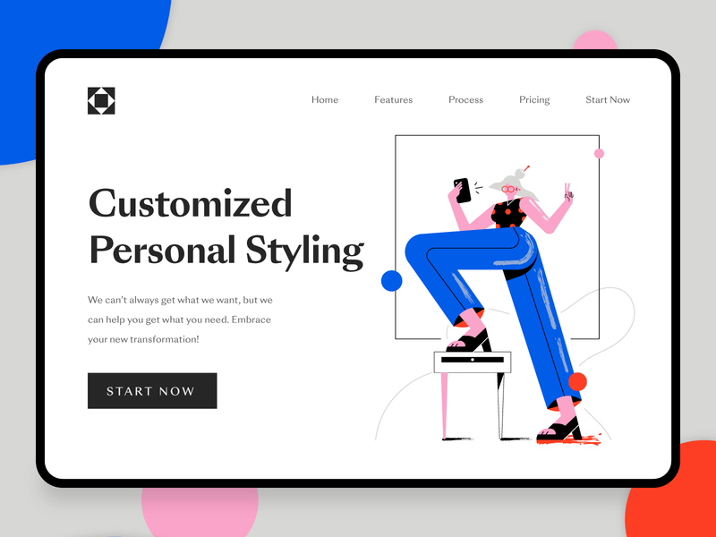 Fashion Startup Landing Page 1 lifestyle makeup beauty clothing girl modern 2d character illustration fintech 2d flat fashion illustration web design fashion startup fashion app ux ui landing page startup fashion