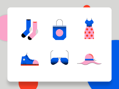 Fashion Icon 1 vector web design shoe hat sneaker sunglasses dress tote bag socks business ux ui flat 2d illustration style icon design icon set icon fashion