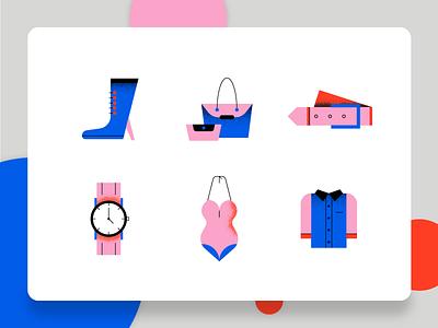 Fashion Icon 2 business bikini shirt purse high heel watches belt web design ux ui fashion app style modern flat vector illustration 2d icon set icon fashion