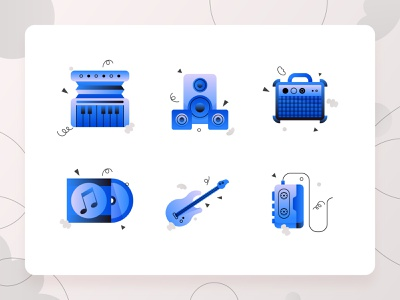 Music Icons 1 web design illustration casette piano speaker vinyl album mixtape amplifier bass guitar vector ux ui 2d flat blue icon set icon music
