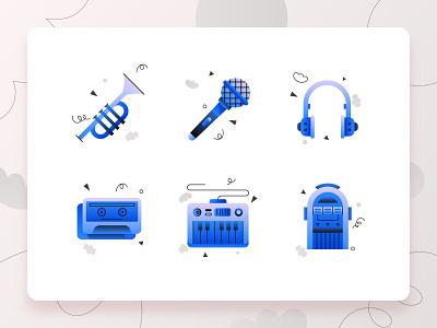 Music Icons 2 audio illustration web design grey 2d flat blue music app mixtape keyboard piano microphone headphone trumpet music icon design icon set icon ux ui