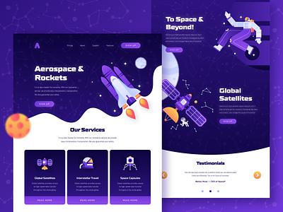 Space Startup Web Design moon planet carousel purple astronaut ui ux illustration services page vector 2d flat constellation satellite spaceship rocket web design landing page startup space