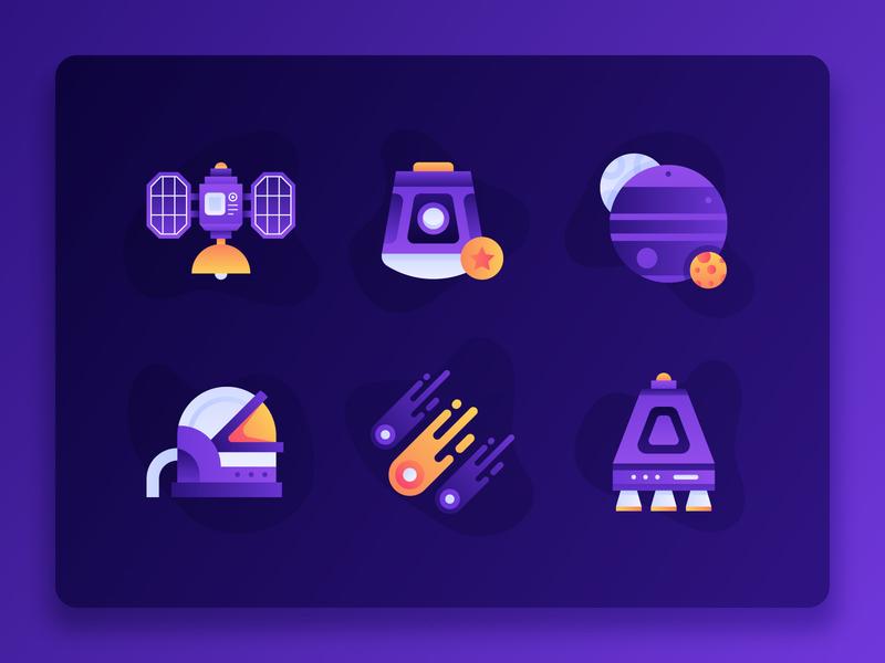Space Icon 1 fintech startup vector moon planet earth planet satellite astronaut comet illustration web design ux ui 2d flat universe purple icon set icon space
