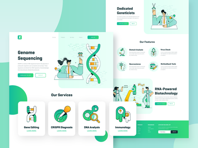 Biotech Startup Webpage medicine chemistry virus microscope dna illustration ux ui 2d character flat landing page webdesign green science vector genetics crispr biology biotech