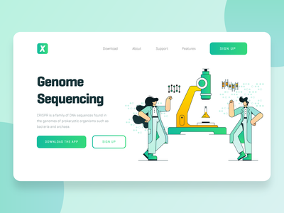 Biotech Startup Landing Page chemistry virus character scientist medicine crispr dna science microscope green flat illustration web design ux ui landing page fintech startup biology biotech