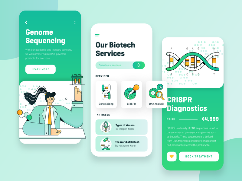 Biotech Startup Mobile App UI/UX medicine illustration icon business fintech virus dna onboarding vector character ux ui mobile app 2d flat green technology science startup biotech