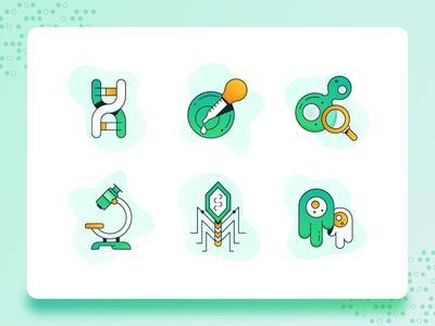 Biology/Biotech Icon 1 2d illustration flat ux ui icon set icon science green bio medicine dna amoeba corona virus microscope business startup biotechnology biology