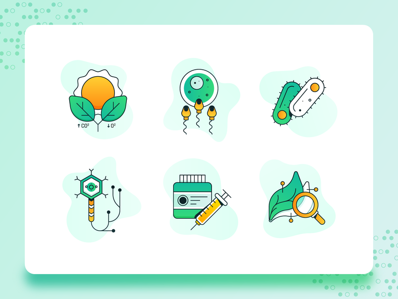 Biology/Biotech Icon 2 medicine app leaf medicine corona virus dna biotech biology science green icon design modern icon set vector icon flat ux 2d ui illustration