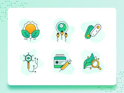 Biology/Biotech Icon 2 medicine app leaf medicine corona virus dna biotech biology science green icon design modern icon set vector icon flat ux 2d ui illustration