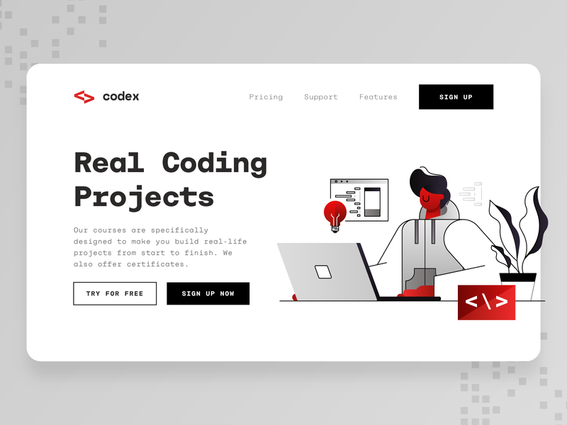 Programming Course Landing Page web design business laptop algorithm software programmer startup vector red black 2d illustration ux ui landing page css javascript coding online course programming