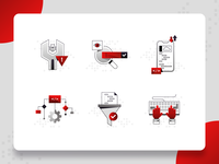 Programming/Coding Icon 2 program software startup coding code keyboard computer programming black red ux ui illustration flat icon web design frontend backend algorithm 2d